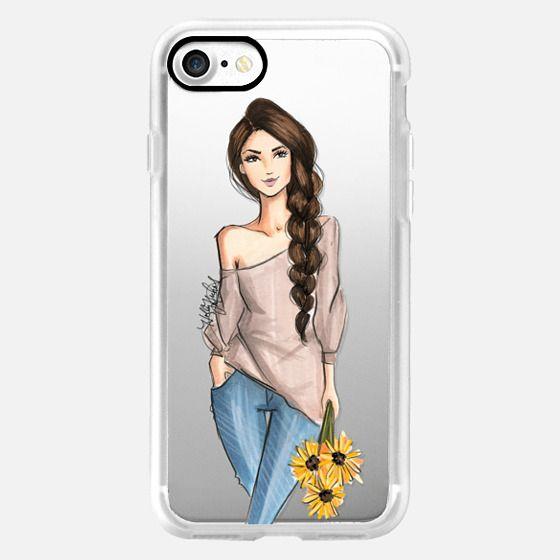 SunnySide -Fashion Illustration Transparent Phone Case Sunflowers Girl- -
