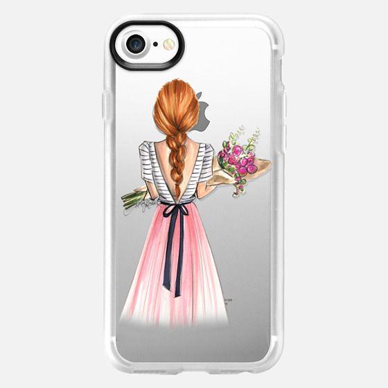 Bouquet (Red Hair Option 3/4, Fashion Illustration Transparent Case) -