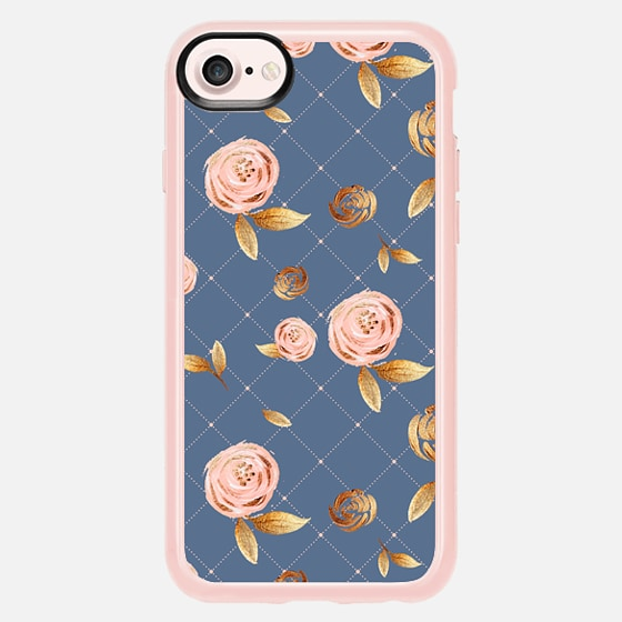 Blush Gold and Navy Floral Pattern - Classic Grip Case
