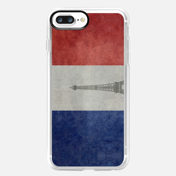 Paris France, vintage French flag with Eiffel tower insert -