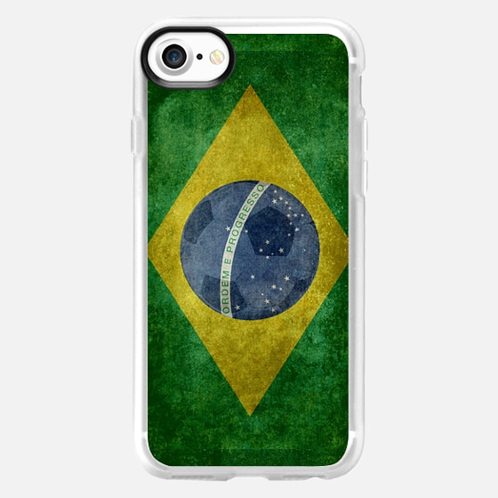 Vintage retro flag of Brazil with soccer football insert - Wallet Case