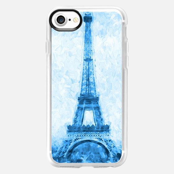 Eiffel Tower Paris France in soft Blue Impasto -