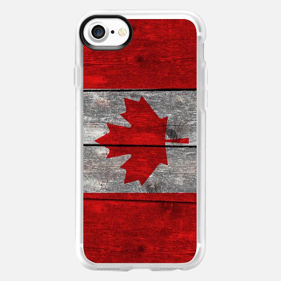 Canada flag on heavily textured woodgrain  - Wallet Case