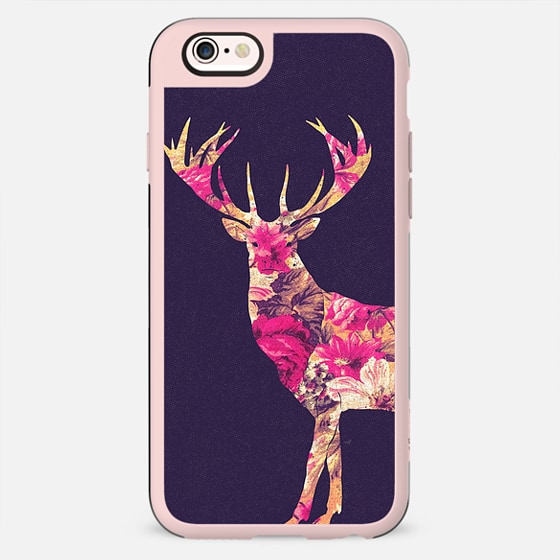 Elegant Pink Vintage Floral Deer On Retro Blue -