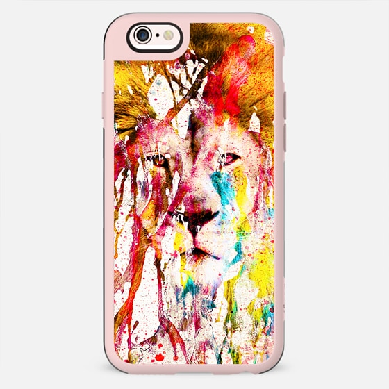 Wild Lion Sketch Abstract Watercolor Splatters -