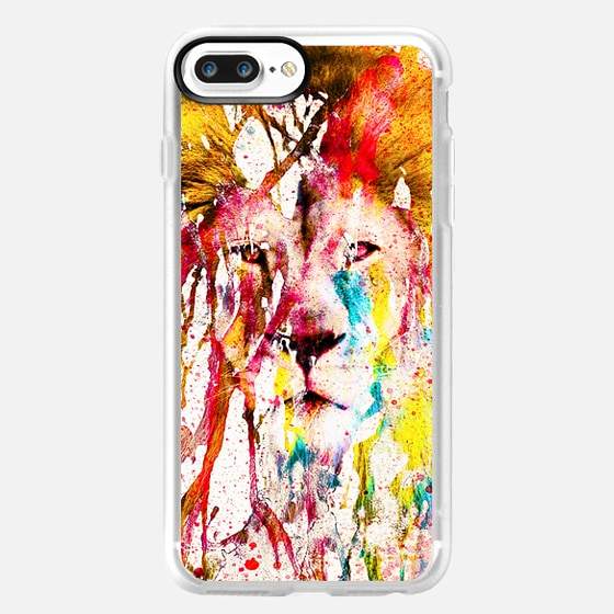 Wild Lion Sketch Abstract Watercolor Splatters - Classic Grip Case
