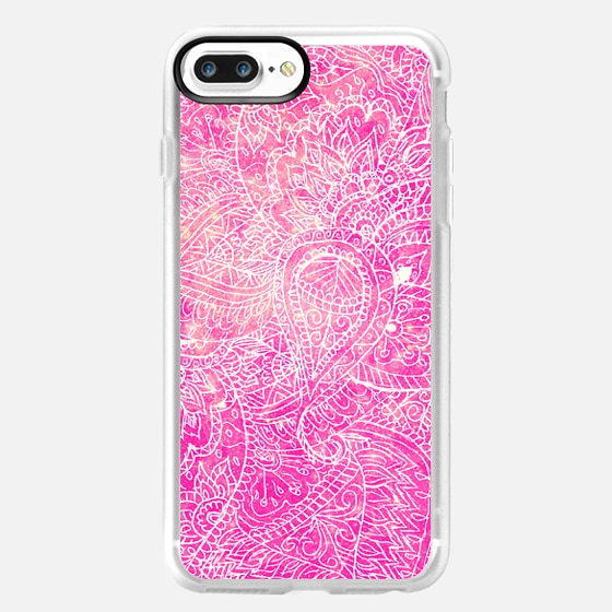 Girly Pink Paisley Abstract Pattern Illustration -