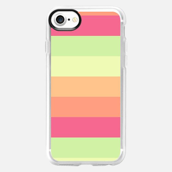 Pastel Orange Pink Green Stripes Summer Pattern - Wallet Case