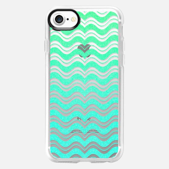 Aqua Mint Green Waves Chevron Abstract Pattern - Wallet Case