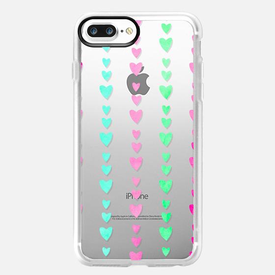 Cute Pastel Girly Rainbow Hearts Pattern - Glitter Case