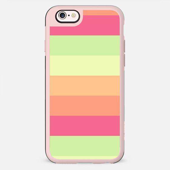 Pastel Orange Pink Green Stripes Summer Pattern -
