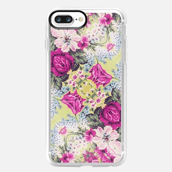 Trendy Vintage Purple Teal Floral Fashion Pattern - Classic Grip Case