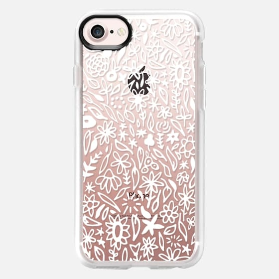 FLORAL IN WHITE (TRANSPARENT) - Snap Case
