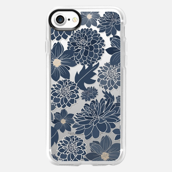 Denim Blue Dahlias - Wallet Case