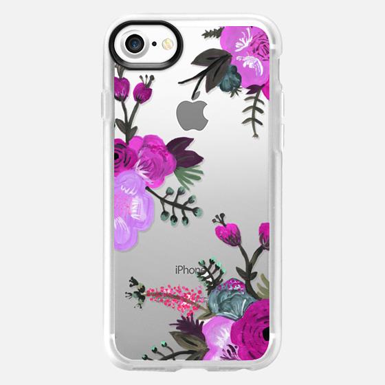 Purple Painted Floral - Wallet Case