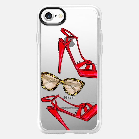 My red shoes and leopard sunnies - Transparent - Wallet Case