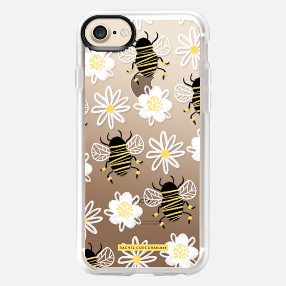 Cute Honey Bee Daisy Flower Nature Yellow Black White Pattern Rachillustrates Rachel Corcoran   - Wallet Case