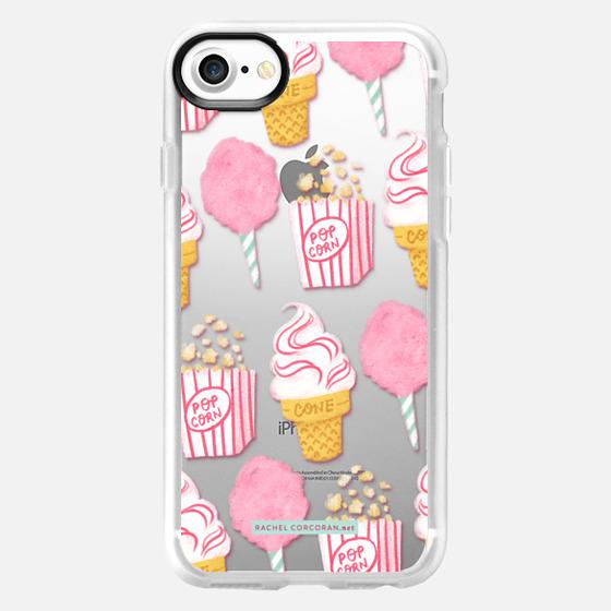 Cute Summer Ice Cream Popcorn Candy Floss Vintage Fairground Pattern Rachillustrates Rachel Corcoran  - Wallet Case