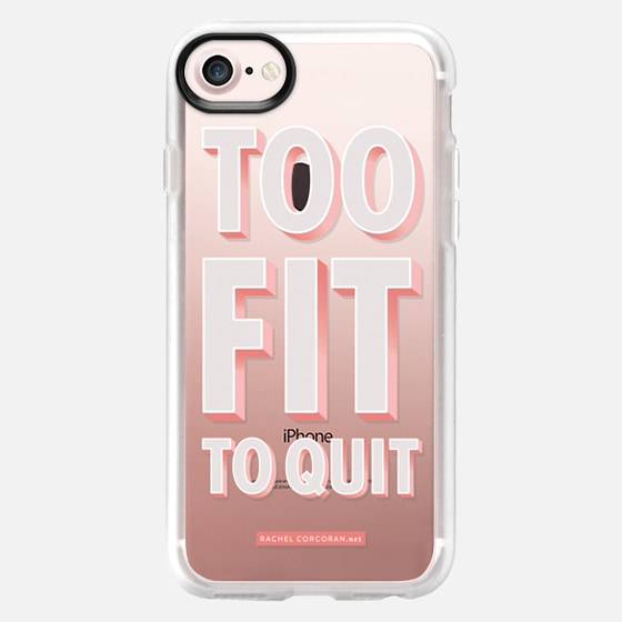Typography Too Fit To Quit Workout Exercise Gym Motivational Healthy Quote Rachillustrates Rachel Corcoran - Wallet Case