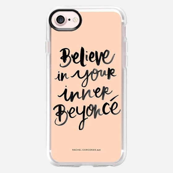 Believe in Your Inner Beyonce by Rachel Corcoran Rachillustrates Peach Inspirational Quote Typography Fashion - Wallet Case