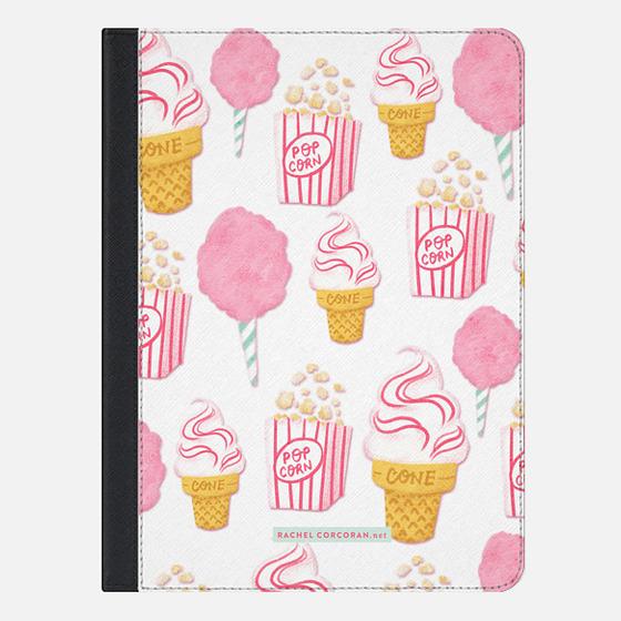 Cute Summer Ice Cream Popcorn Candy Floss Vintage Fairground Pattern Rachillustrates Rachel Corcoran - iPad Folio Case