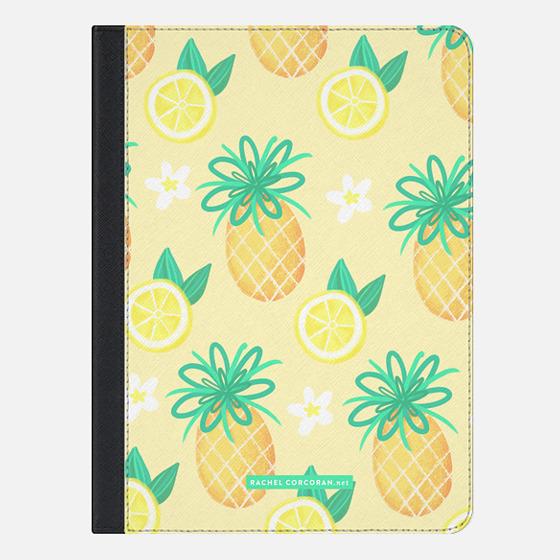 Summer Pineapple Lemonade Hawaii Tropical Fruit Lemon Pattern Rachillustrates Rachel Corcoran - iPad Folio Case