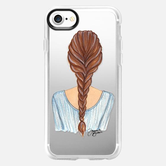 Braided Brunette Beauty Fashion Illustration by Joanna Baker - Wallet Case
