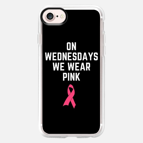 On Wednesdays We Wear Pink Breast Cancer Ribbon Design -
