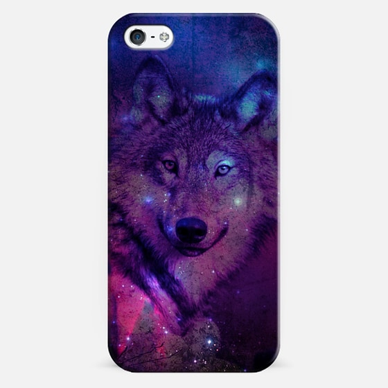 Blue Purple Pink Wolf Space Galaxy Nebula Stars Photo - Classic Snap Case