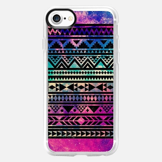 Beautiful Colorful Pink Purple Teal Girly Cute Nebula Space Stars Aztec Tribal Triangle Pattern - Wallet Case