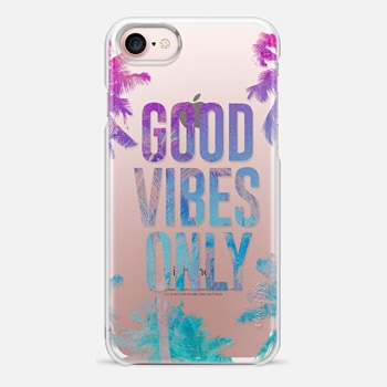 iPhone 7 Case Transparent Tropical Summer Good Vibes Only