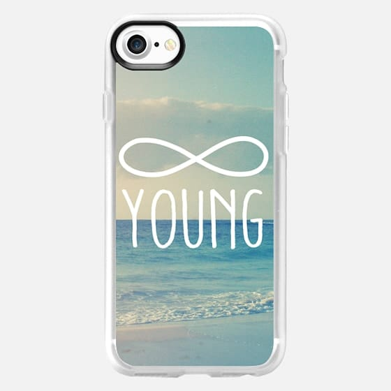 "Blue Sea Sky Summer Beach Infinity ""Forever Young"" Quote Text -"