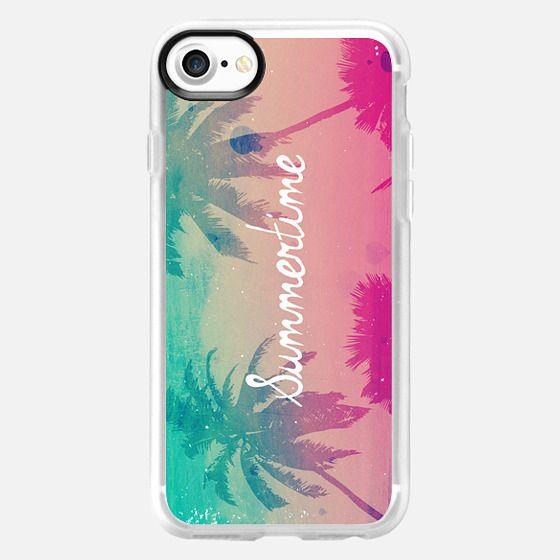 Mint Aqua Pink Peach Summer Sunset Beach Palm Trees Silhouette Text Script Summertime -