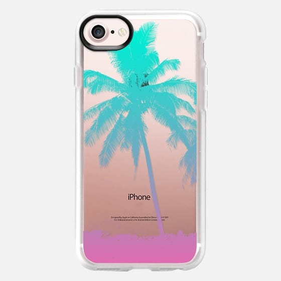 Tropical Summer Beach Palm Tree Neon Ombre Pastel Aqua Pink - Classic Grip Case