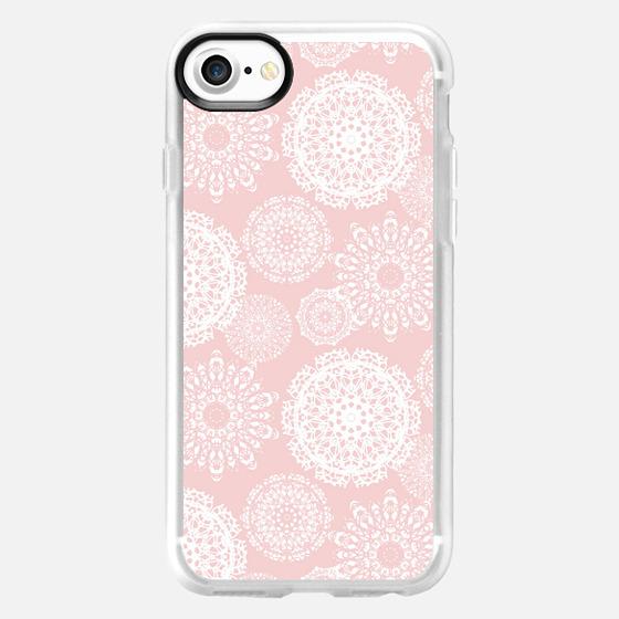 White Pink Crochet Mandalas - Classic Grip Case