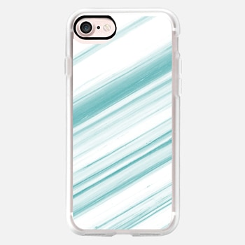iPhone 7 ケース Teal and White Striped Marble