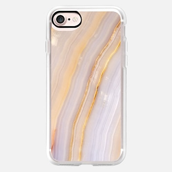 iPhone 7 ケース Purple and Gold Stripe Marble