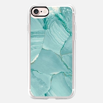 iPhone 7 Case Teal Striped Marble