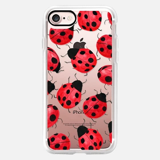 Cute Ladybug - Watercolor Ladybugs Red Black -