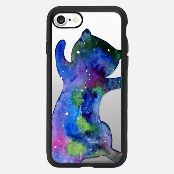 Galaxy Cat - Watercolor Space Kitty Purple Pink Blue Green -