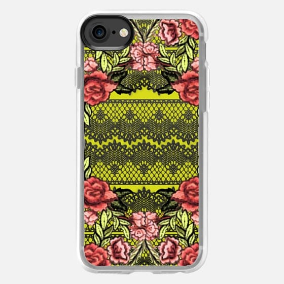 Embroidered roses and lace - Classic Grip Case