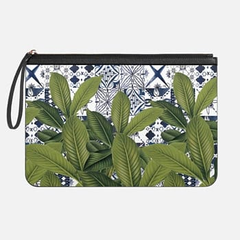 Tech Clutch - Medium  Floral tropical leaves on watercolor moroccan tiles