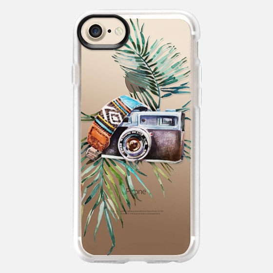 WATERCOLOR BOHO VINTAGE CAMERA - PALM LEAVES - Classic Grip Case