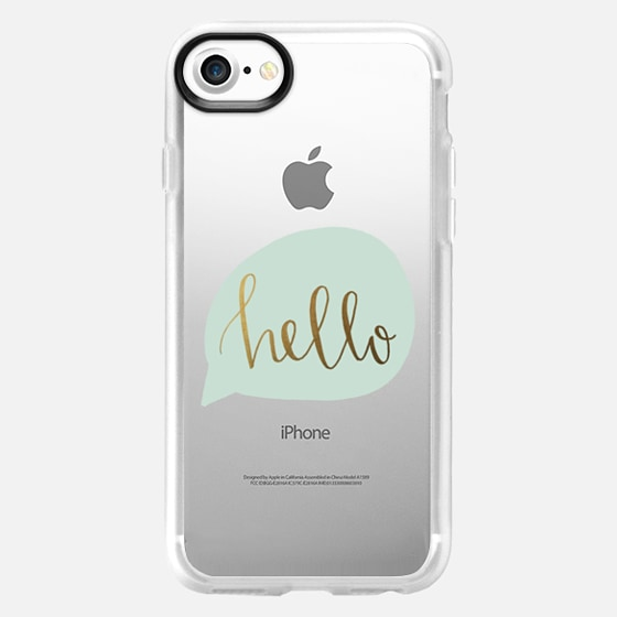 hello - mint and gold - Snap Case