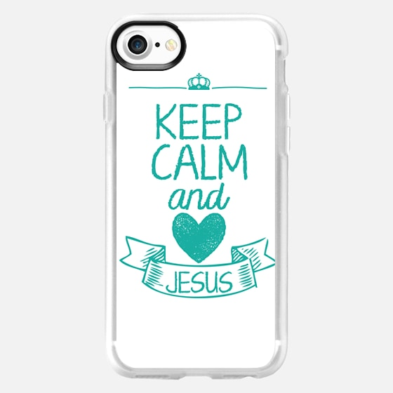 Keep Calm and LOVE JESUS (White-Turquoise) - Wallet Case