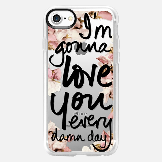 I'm Gonna Love You Every Damn Day (Sweet Pea Floral, Wedding Bouquet, Black Writing) - Wallet Case