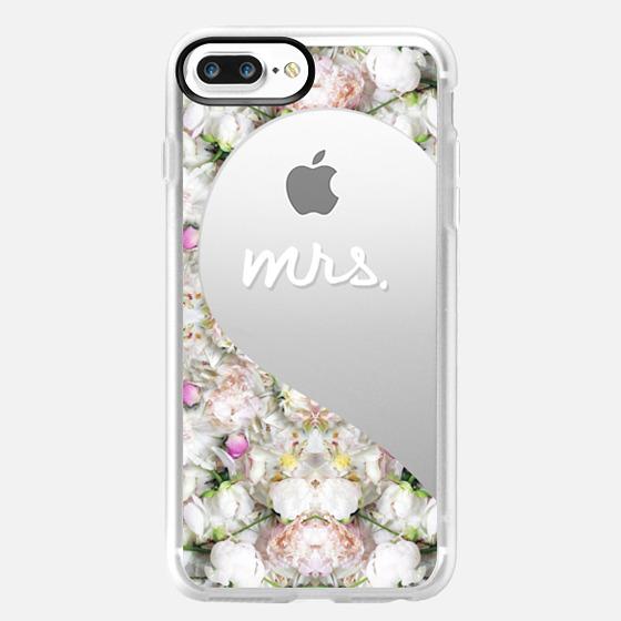 Mrs. (White Writing + Peonies Floral) (Left Heart) (Bride + Groom, Wedding) -