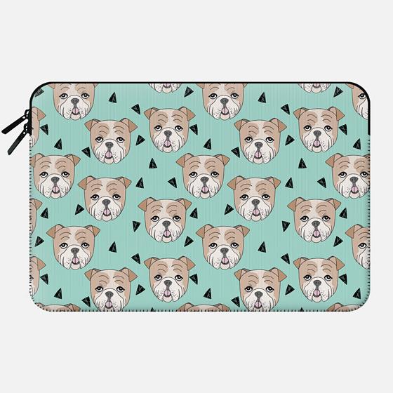 English Bulldog - Mint Mac Sleeve by Andrea Lauren - Macbook Sleeve