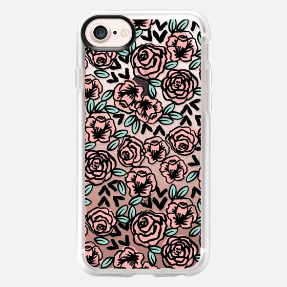 modern garden florals flowers pattern black and white transparent cell phone case pastel girly by andrea lauren  - Wallet Case