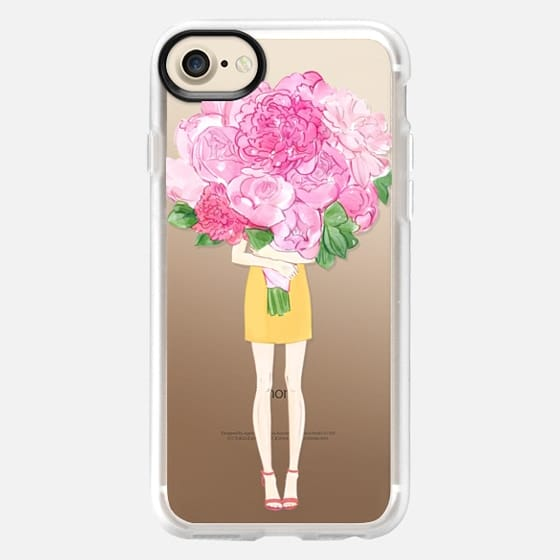 Girl and Peonies - Snap Case